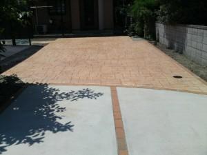 外構工事、エクステリア、スタンプコンクリート(セザインコンクリート)施工例