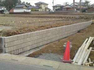 ブロック塀施工状況
