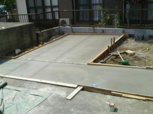 土間コンクリート施工状況